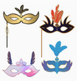 carnival face masks set vector image