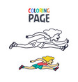 coloring page with woman running cartoon vector image