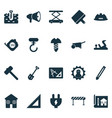 construction icons set with straightedge hammer vector image