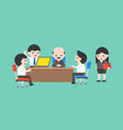 cute businessman team meeting conference with ceo vector image