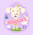 flat happy easter day background vector image vector image