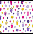 flowers and hearts doodle seamless pattern vector image