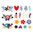 flowers flat color set vector image vector image