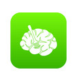 fork is inserted into the brain icon digital green vector image vector image