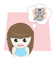 girl is thinking about cute kitten vector image