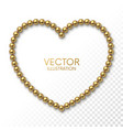 golden balls in the form of heart frame on white vector image
