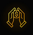 hands holding coin golden outline icon vector image
