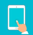hands holding tablet and pointing on the blank vector image vector image