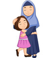 happy muslim mother hugging her daughter vector image vector image