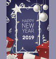 happy new year poster or postcard template with vector image
