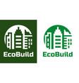 home building logo and symbols eco real estate vector image
