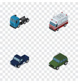 isometric automobile set of suv armored truck vector image vector image