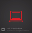 laptop outline symbol red on dark background logo vector image vector image