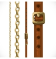 Leather belts with brass buckles and chain vector image
