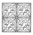 medieval tile pattern have four birds and leaves vector image vector image