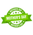 mothers day ribbon mothers day round green sign vector image vector image