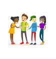 multicultural group of teenagers looking at phone vector image vector image