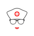 nurse portrait silhouette medical icon vector image vector image