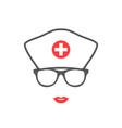nurse portrait silhouette medical icon vector image