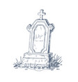 old grave with upright gravestone and christian vector image vector image