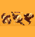 peanut nuts and chocolate splashes 3d realistic vector image