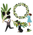 people hold olive branches and olive wreath vector image vector image
