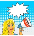 Pop Art Girl with a megaphone vector image vector image