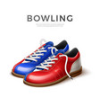 realistci bowling shoes blue and red vector image