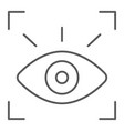 retina scanner thin line icon recognition vector image vector image