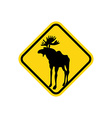 Road sign yellow deer Moose pointer Attention vector image vector image
