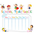 school time table with doodle children vector image