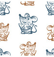 seamless pattern funny mice with cheese vector image vector image