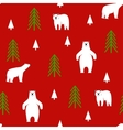 Seamless pattern Polar bear on a red background vector image