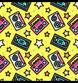 seamless pattern with cassette vector image vector image