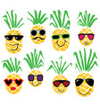 set of pineapples like humans smiling pineapple vector image vector image