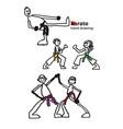 set people in cartoon style karate sport vector image
