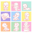 set with cute little babies 3-15 months vector image