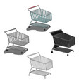 shopping cart icon in cartoonblack style isolated vector image