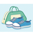 Sneakers shoes and bag vector image