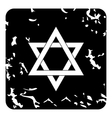Star of David icon grunge style vector image