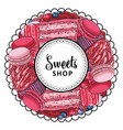 sweets shop logo with cupcake biscuits vector image vector image