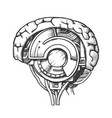 technology cyber brain side view monochrome vector image