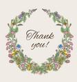 thank you card inscription inside the wreath vector image