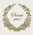 thank you card inscription inside wreath of vector image