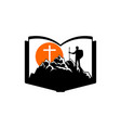 the man on the mountain goes to the cross of jesus vector image vector image