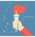Victory Flame Symbol Hand Hold Fire Torch Icon vector image vector image