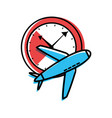 watch time with airplane travel vector image