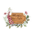 wedding floral invite wooden plate vintage vector image