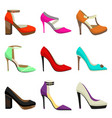 woman high heel shoes set vector image vector image