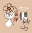 woman with flower in her hair singing in a vector image